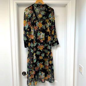 Zara sheer floral duster - Size L